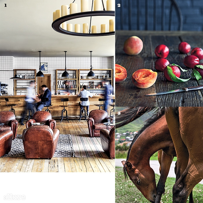 1 룸스 호텔의 바. 2 지역에서 나고 자란과일들. 3 스테판츠민다 산자락에서 풀을뜯어 먹고 있는 말들의 평화로운 한때.