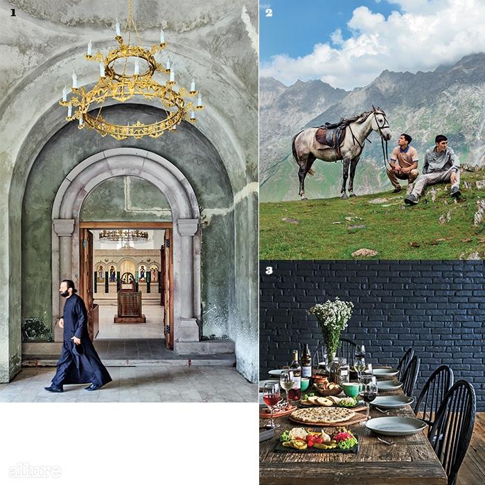 1러시아 국경과 인접한 스테판츠민다 북부의 다릴(Daryal)협곡에 있는 대천사 미카엘과 가브리엘 수도원.2말을 타고 카즈벡 산에 다녀올 수도 있다.3룸스 호텔에서 맛볼 수 있는 전통 식사.