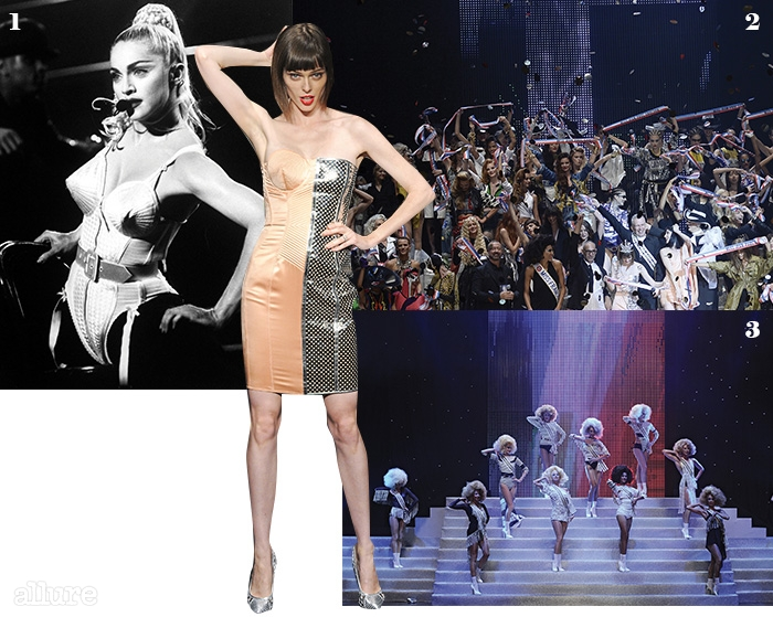 1 1990년 '블론드앰비션' 투어의마돈나. 2폴 고티에의 2015년 봄/여름 컬렉션의 피날레 무대. 3'미스 앙팡 테리블'콘셉트로 진행된 장폴 고티에의 2015년봄/여름 컬렉션.