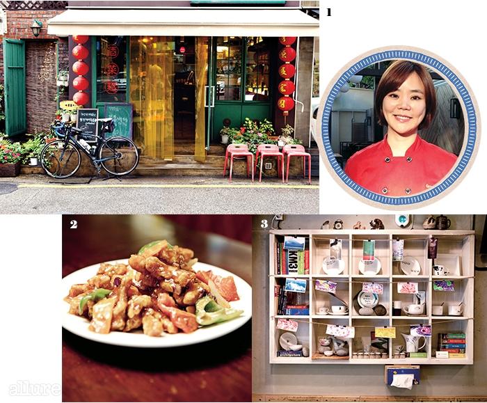 1 홍콩 어느 골목에서 볼 수있음직한 아기자기한 중식당청담. 2 군더더기 없이 깔끔한매운맛을 자랑하는 사천탕수육. 3 그릇과 사진으로꾸민 식당 내부.