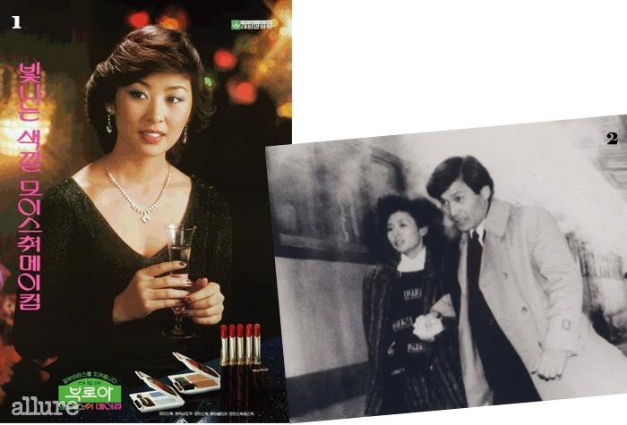 180년대 아모레 부로아 화장품모델로 활약한 이미숙. 2이미숙, 안성기 주연의 영화 <겨울 나그네>(1986).
