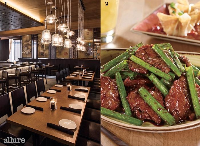 1피에프 창의 모던한 내부. 2구운 고기를 바삭하게구운 몽골리안 피프.