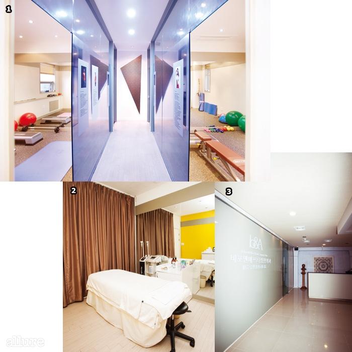 1 1대1 필라테스 수업을진행하는 프라이빗 룸.2 다양한 시술이가능한 내부 공간.3 비포앤애프터클리닉은 총 3층으로이루어져 있다.