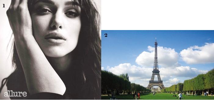 1본받고 싶은 배우, 키이라 나이틀리. 2가장 좋아하는 도시, 파리.