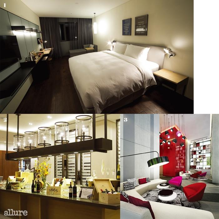 1 디자인호텔스 멤버로 선정된 여의도 글래드 호텔의말끔한 객실. 2 30년 역사의 서울가든호텔은 9개월에거쳐 대대적인 리뉴얼을 감행했다. 3 젊은 여성들의취향에 맞춘 이비스 스타일 앰배서더 명동의 로비.