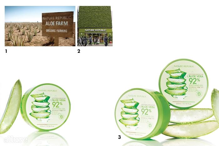 1미국 캘리포니아에 있는네이처리퍼블릭 만의전용 유기농 알로에 농장. 2 지난해 오픈한 네이처리퍼블릭의 친환경 플래그십 스토어 '명동유네스코점'.3네이처리퍼블릭의 수딩 앤 모이스처알로에베라 92% 수딩젤.300ml 4천4백원.