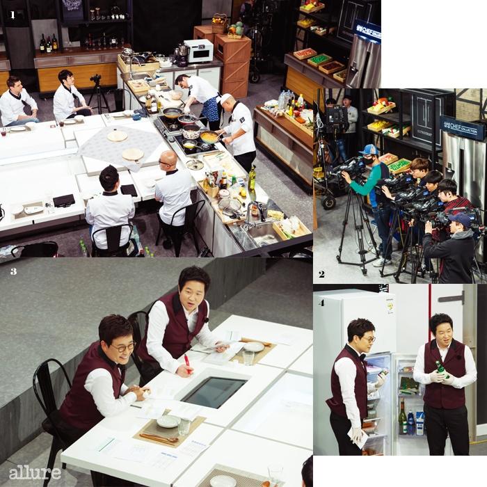 1 첫 번째 요리대결을 위해 조리대에 선 김풍과 정창욱 셰프. 2 녹화에집중하는 수많은 카메라. 3 MC 김성주와 정형돈. 4 게스트의 냉장고 속을하나하나 확인하고 있다.