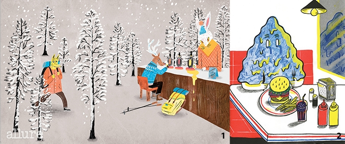 1 홀로 여행하는자들을 위한 겨울바. 22013년 만든 리소그라프 프린트 시리즈 중하나인 범벅이의 외식.