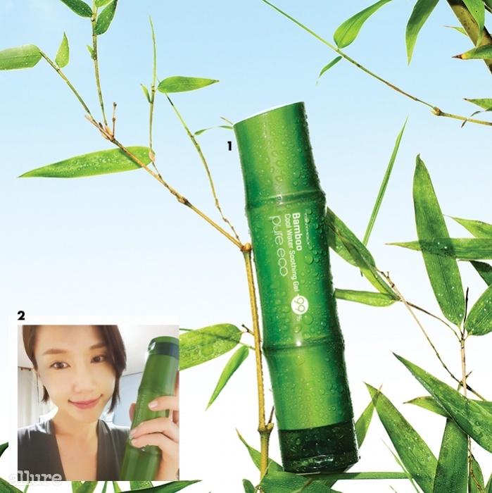 1 토니모리의 순수에코 대나무 시원한 물 수딩 젤.300ml 5천8백원. 2토니모리 순수에코 대나무 시원한 물 수딩 젤을 자신의페이버릿 아이템으로 SNS에 공개한 배우 공현주.
