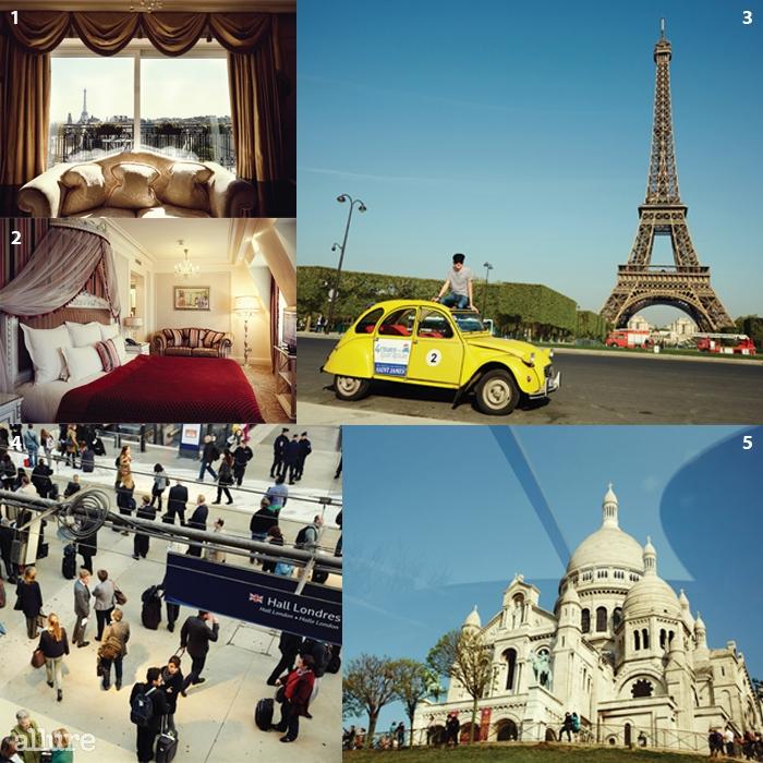 1, 2 화려한 프랑스풍으로꾸며진 호텔 발자크. 샹젤리제와바로 이어진다. 3 노란 클래식시트로엥 2CV와의 드라이브.4 파리의 역 중 가장 붐비는북역. 5 늘 여행자로 북적이는몽마르트 언덕.
