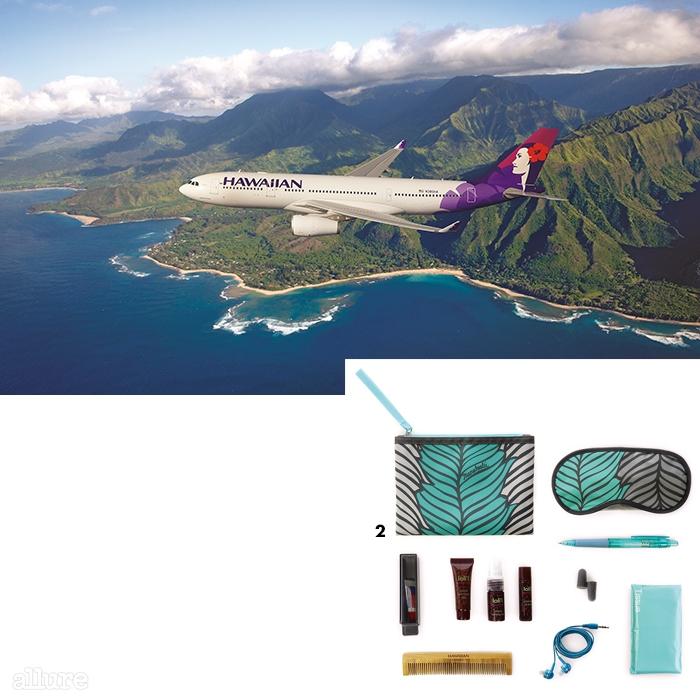 1 편안한 서비스를 제공받을 수 있는 하와이안항공.2 하와이안항공에서 새롭게 선보이는 어메니티 키트.
