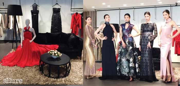 1 에스카다 가을/겨울 컬렉션의 팔레트는 관능적인 레드와 모던한 블랙으로채워졌다. 2 여자라면 누구나 한번쯤 입어보고 싶을 법한 우아한 실루엣과 섬세한디테일의 이브닝 드레스를 미니 패션쇼 형식으로 선보였다.