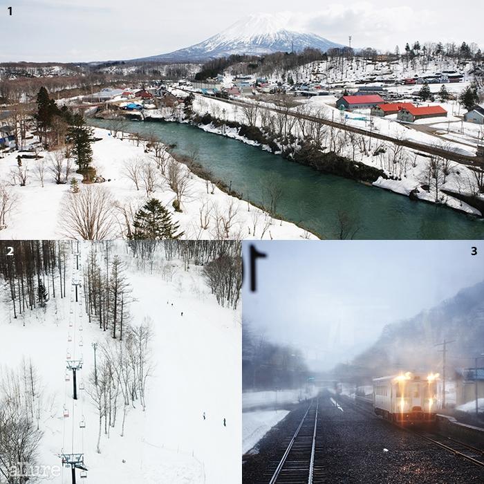 1 어느 쪽을 향해도 홋카이도의 후지 산이라 불리는요테이 산이 그림자처럼 따라온다. 2 굿찬 역으로 향하는열차에 올라 바라본 풍경. 3 아직은 조용한 초겨울의스키장. 호텔에서 바로 케이블카를 타고 올라갈 수 있다.