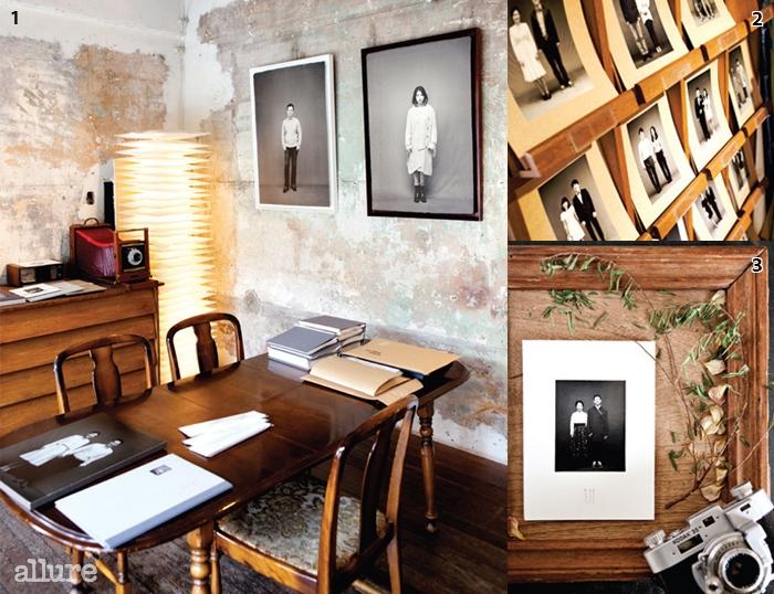 1 물나무 사진관에서는 여러연예인이 촬영하고 간 흔적을 보는재미가 크다. 2 두 달을 기다려완성된 사진들. 3 폴라로이드로촬영한 커플 사진.