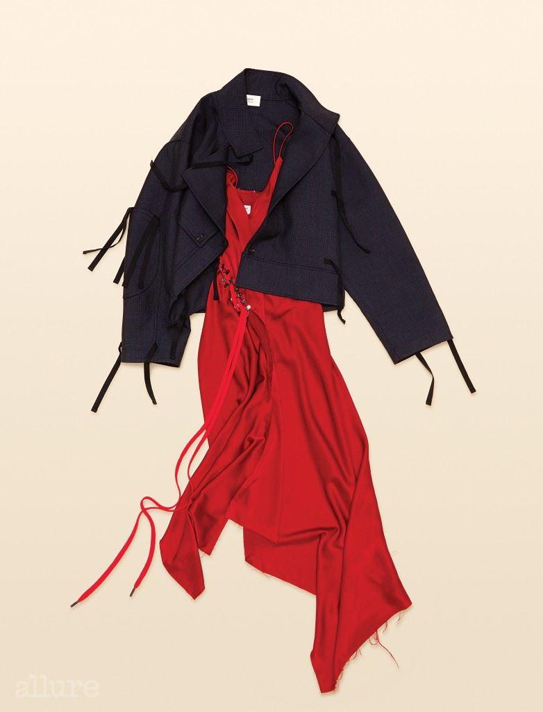 울 소재 오버사이즈 재킷은 가격미정, 포츠 1961(Ports 1961). 새틴 소재 슬립 드레스는 1백45만원, DKNY.