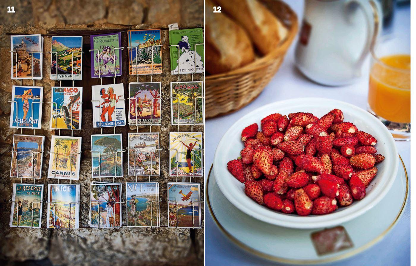 11 남불 도시의 모습을 담은 그림 엽서들. 12 라 콜롱브 도르의 조식으로 제공되는 산딸기.