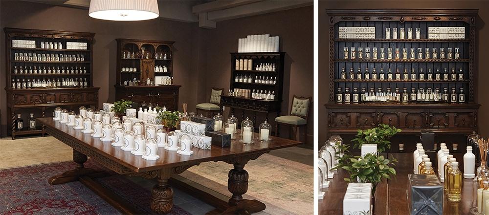 이탈리아의 유서 깊은 약국을 연상시키는 공간. 브랜드별 모든 제품이 진열되어 있어,  다양한 제품을 보다 쉽게 시향해볼 수 있다.
