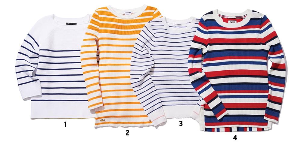 1 레이온 소재 티셔츠는 25만원, 타라 자몽. 2 면 소재 티셔츠는 10만8천원, 라코스테. 3 울 소재 티셔츠는 19만6천원, 클럽 모나코(Club Monaco). 4 면 소재 티셔츠는 14만5천원, 타미 힐피거 데님(Tommy Hilfiger Denim).