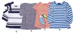 5 면 소재 티셔츠는 9만5천원, 세컨플로어(2nd Floor). 6 면 소재 티셔츠는 6만5천원, 타미 힐피거 데님. 7 면 소재 티셔츠는 63만8천원, 미라미카티 바이 라움(Mira Mikati by Raum). 8 면 소재 티셔츠는 9만5천원, 세컨플로어.