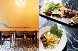 바닥 타일이 돋보이는 테이블 원 내부와 단호박 생면을 사용한 파스타와 차돌박이&된장 드레싱 쌈 샐러드.