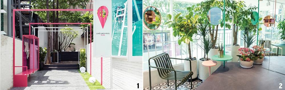 2 경쾌한 컬러 구조물과 푸른 정원이 있는 플롭스 입구. 3 푸릇푸릇한 실내 정원에서 메이크업도 하고, 여유롭게 쉬어갈 수 있도록 꾸민 2층 코스메틱 가든.