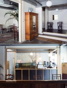 1 빈티지 가구와 카펫이 잘 배치된 카페 내부. 2 맛있는 커피와 디저트를 준비하는 공간.