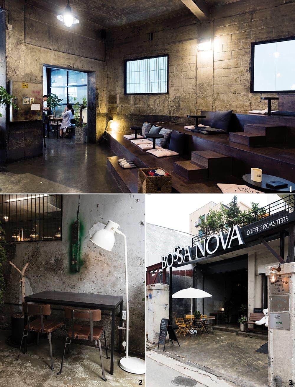 1 마치 무대 객석처럼 꾸며놓은 테이블과 좌석. 2 검게 그을린 벽과 거친 페인트칠을 그대로 간직하고 있는 벽. 3 1층은 공장, 2층은 직원들의 기숙사였던 보사노바.