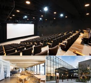 1 최첨단 영사 시스템을 갖춘 상영관 내부. 2 1층에 위치한 '카페 모음'은 80평 규모의 북카페다. 3 건축가 승효상이 디자인한 명필름 파주 사옥.