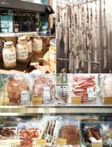 1 소금집 외관. 2 고기를 가공할 때 사용하는 천일염. 3 건조, 발효되고 있는 고기. 4 수제 베이컨,살라미 등 훈연육을 판매하는 소금집.