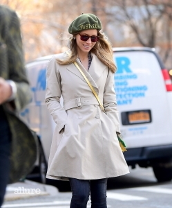 """EXCLUSIVE: Jessica Biel was all smiles as she enjoyed a sunny stroll around her Tribeca neighborhood on Tuesday. She took advantage of the unusually warm 65 degree temperatures , walking around while listening to music. She wore a chic beige belted jacket, and a green beret , which read """"Justice"""" . Pictured: Jessica Biel Ref: SPL1660478 200218 EXCLUSIVE Picture by: SplashNews.com Splash News and Pictures Los Angeles: 310-821-2666 New York: 212-619-2666 London: 0207 644 7656 Milan: +39 02 4399 8577 Sydney: +61 02 9240 7700 photodesk@splashnews.com World Rights"""